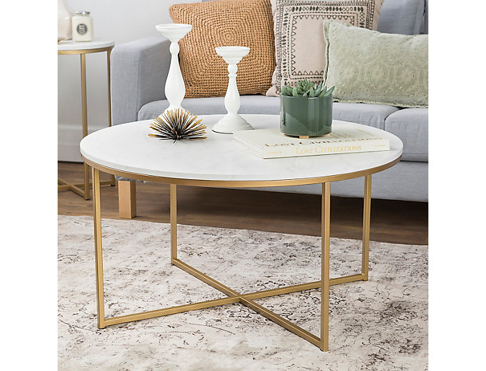 Derby Faux Marble Coffee Table, Gold, , large