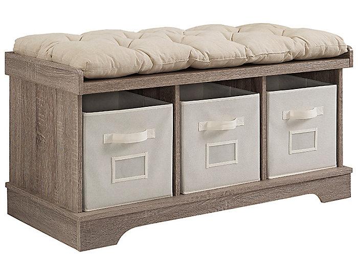 Selena Driftwood Storage Bench,, , large