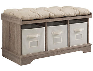 Selena Driftwood Storage Bench, , large