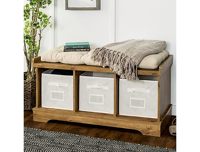 Selena Barnwood Storage Bench, Brown, , large