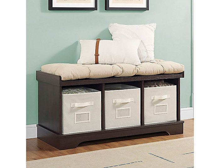 Selena Espresso Storage Bench, , large
