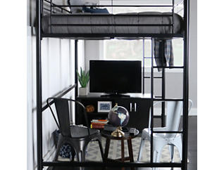 Kylie Black Full Size Loft Bed, Black, large