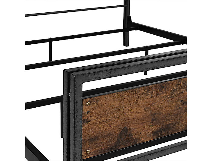 Plank Wood and Metal Queen Bed, , large