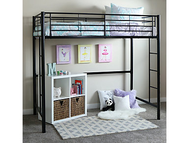 Kylie Black Twin Loft Bed, , large