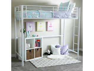 Kylie White Twin Loft Bed, , large