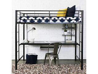 Kylie Twin Low Loft With Desk, Black, large