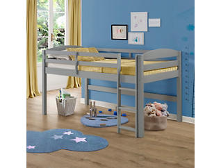 Solid Wood Low Loft Twin Bed, Grey, large