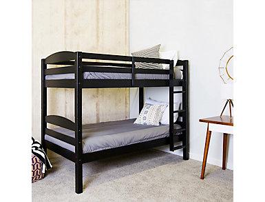 Max Black Twin Bunk Bed, Black, large