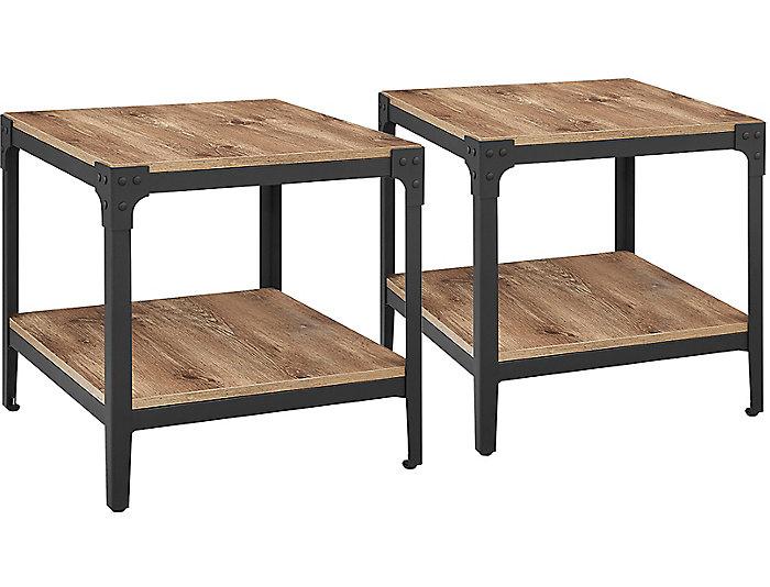 Barnwood End Tables (Set of 2), Brown, , large