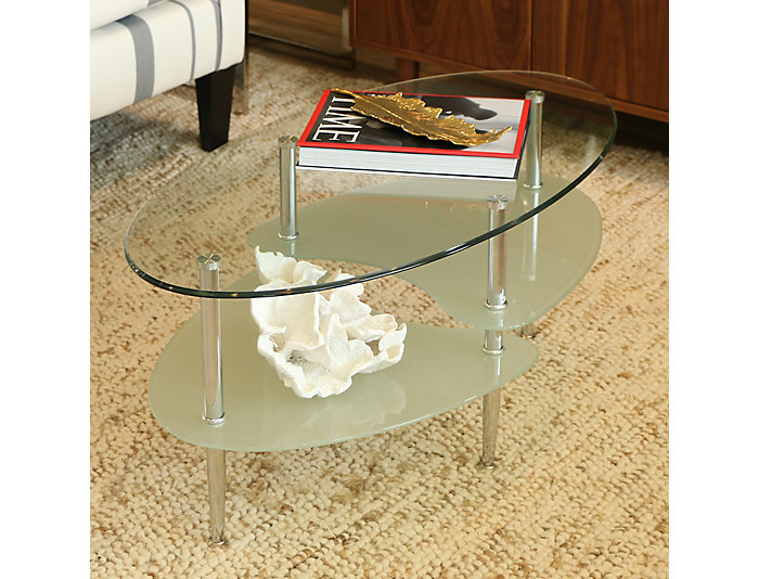 Wave Oval Glass Coffee Table, Glass, , large
