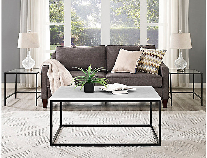 Leeds Faux Marble Coffee Table, , large