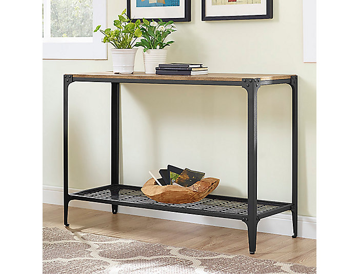 Angles Barnwood Sofa Table, Brown, , large