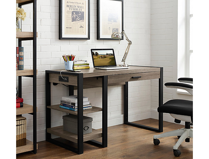 Micah USB Driftwood Desk, , large