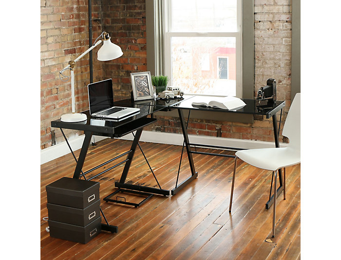 Rory Black Corner Desk, , large