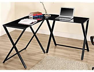 Black Glass Sleek Desk | artvan