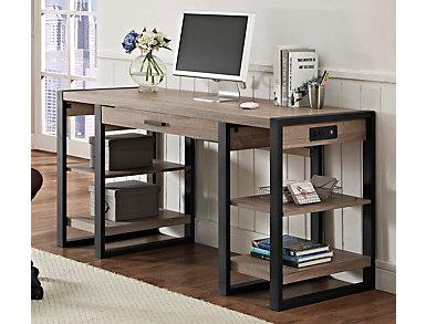"""Toni 60"""" USB Driftwood Desk, , large"""