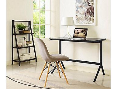 West Black Desk & Shelf, , large