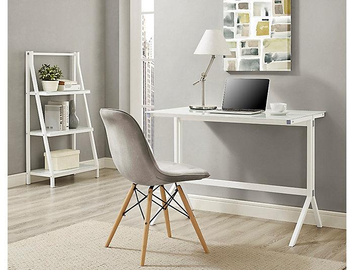 West White Desk & Shelf, , large