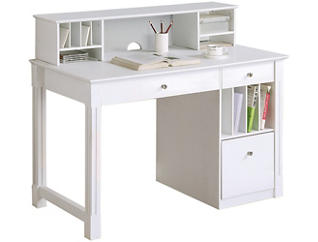 Winter White Desk & Hutch, , large