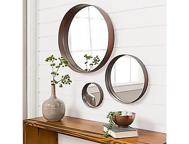 Hazel Banded Copper Mirror Set, , large