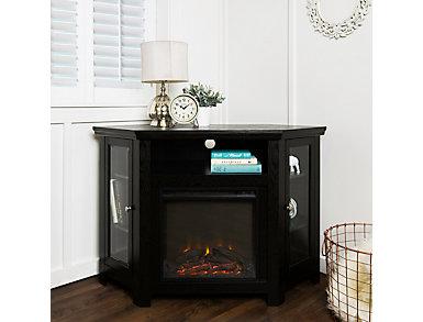 "AJ 48"" Black Corner Fireplace, Black, large"