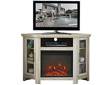 "AJ 48"" Corner White Fireplace, , large"