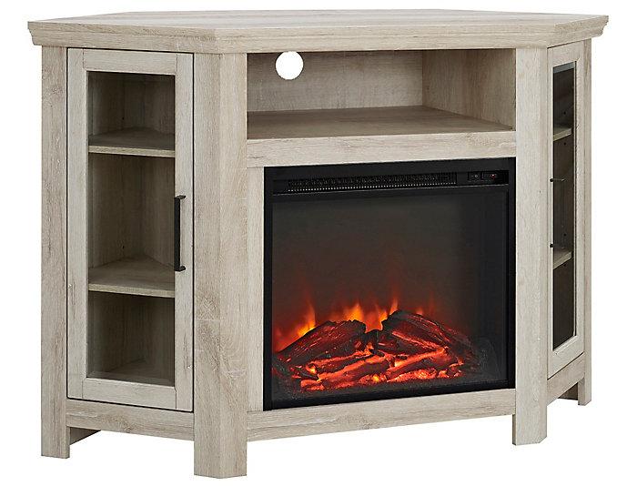 """AJ 48"""" Corner White Fireplace, , large"""