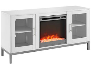 "Andy 52"" Fireplace, White, large"