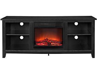 "Nori 58"" Black Fireplace, Black, large"