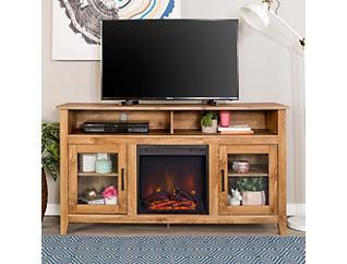 "Nico 58"" Barnwood Fireplace, Brown, large"