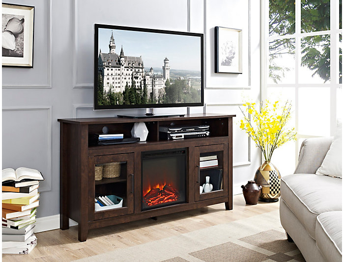 """58"""" Brown Fireplace TV Stand, , large"""