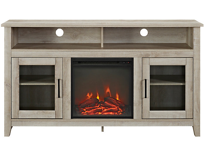 "58"" Oak Fireplace TV Stand, , large"