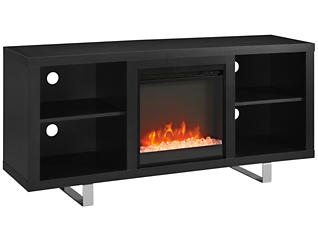 "Andy 58"" Fireplace, Black, large"