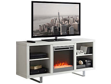 """Andy 58"""" White Fireplace, , large"""