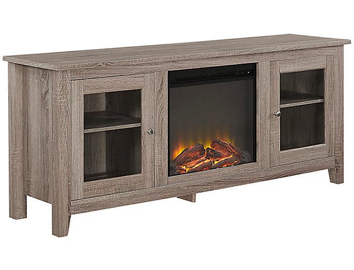 "58"" Driftwood Fireplace TV, , large"