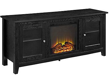 "Levi 58"" Black Fireplace, , large"