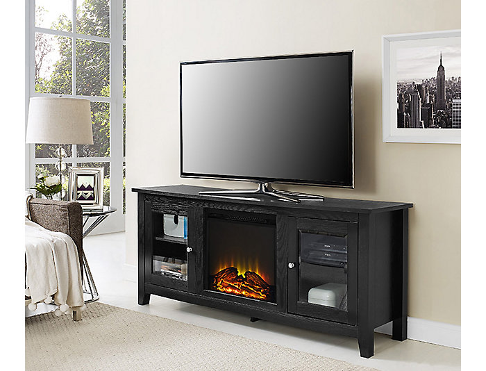 "Levi 58"" Black Fireplace, , large"