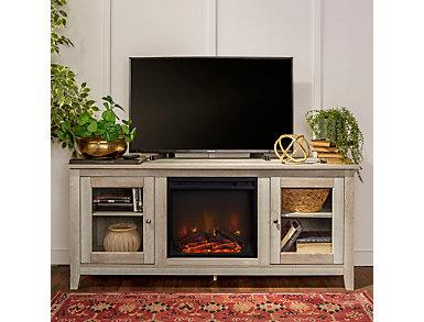"Levi 58"" White Oak Fireplace TV Stand, White, large"