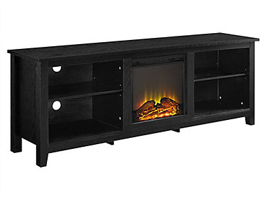 "Dean 70"" Black Fireplace, , large"