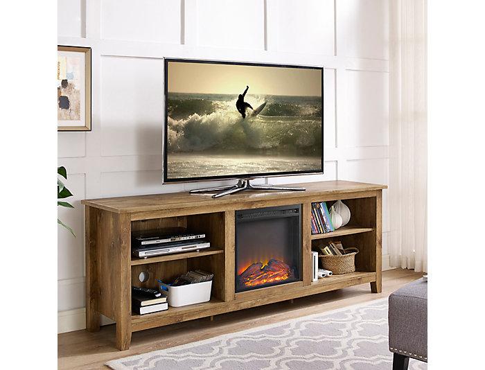 """Lee 70"""" Barnwood Fireplace, , large"""