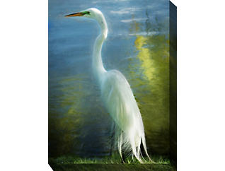 White Crane Outdoor Wall Art, , large