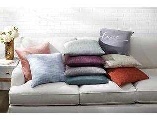 """Colette Azure Linen 20"""" x 20"""" Pillow, , large"""