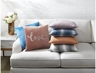 "Francesca Blue Velvet 20"" x 20"" Pillow, , large"