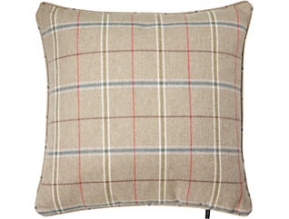 100% FEATHER PLAID PILLOW, , large