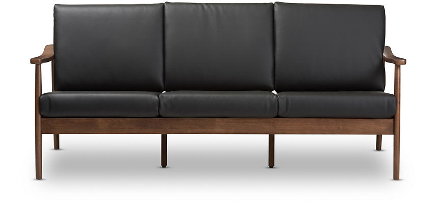 Waves Black Faux Leather Sofa | Art Van Home