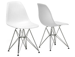 Azzo White Side Chair Set of 2, , large