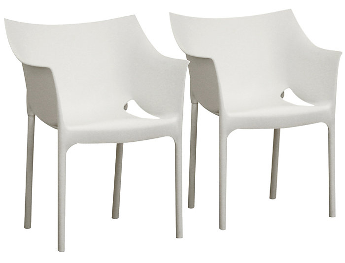 White Arm Chair Set Of 2 Large