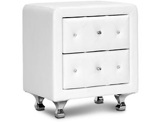 Stella Tufted White Nightstand, , large