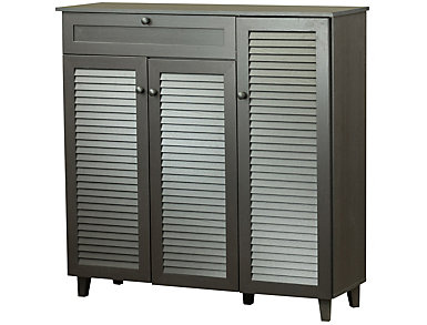 Elsey Dark Brown Shoe Storage Cabinet, , large