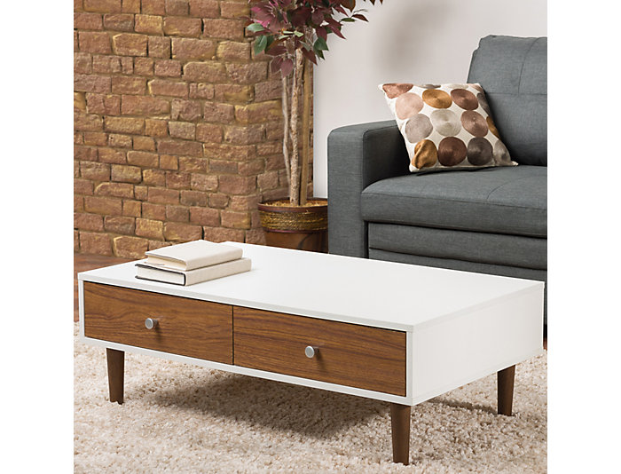 Matteo Walnut Coffee Table, Brown and White, , large